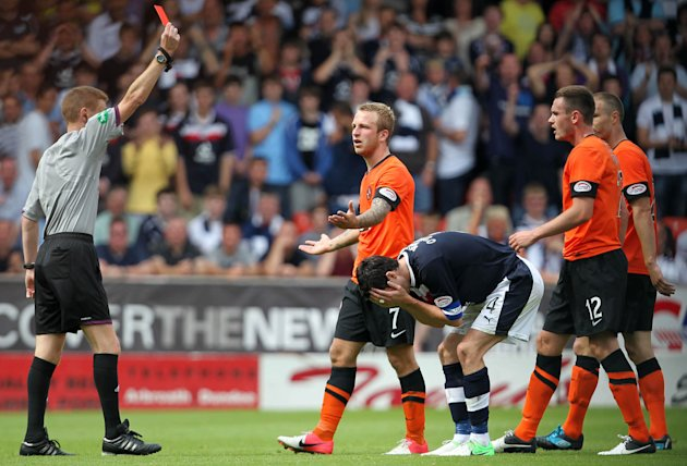 Johnny Russell and Stephen O'Donnell were both sent off in the Dundee derby