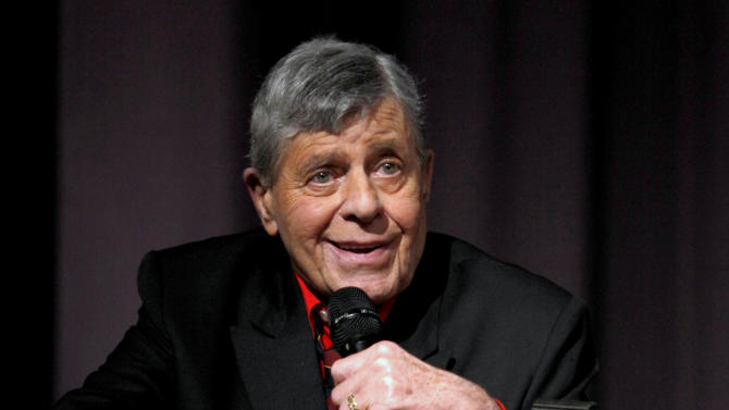 "FILE - In this Dec. 7, 2011 file photo released by Starz shows comedian Jerry Lewis speaking at the Encore Original premiere of ""Method to the Madness of Jerry Lewis"" in Los Angeles. A publicist for Lewis says the comedian is resting at his hotel after spending two nights in a New York hospital. Lewis was hospitalized Tuesday, June 12, 2012 due to low blood sugar after forgetting to eat or drink. (AP Photo/Starz, Joe Kohen, File)"