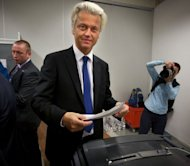 Dutch far-right Freedom Party leader Geert Wilders prepares to cast his vote on September 12, 2012 at a polling station in The Hague. The Netherlands voted in crunch polls Wednesday seen as a barometer of anti-European sentiment after a riveting campaign that has shaped into a tight race between two pro-Europe parties