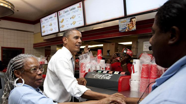 President Barack Obama stops at The Varsity restaurant, Tuesday, June 26, 2012, in Atlanta. (AP Photo/Carolyn Kaster)