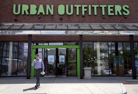 A customer leaves the Urban Outfitters store in Denver