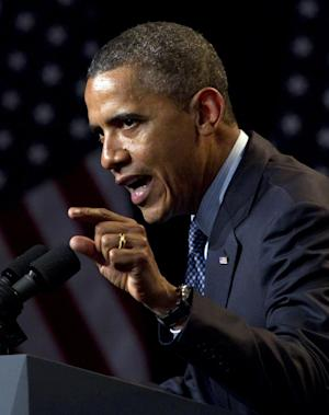 President Barack Obama speaks at a campaign event at the Beverly Wilshire Hotel, Wednesday, June 6, 2012, in Beverly Hills, Calif. (AP Photo/Carolyn Kaster)