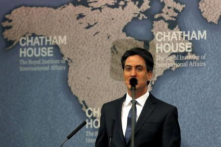 Britain's opposition Labour party leader Miliband addresses an audience behind teleprompter during campaign event in London