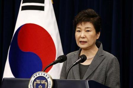 South Korean President Park Geun-Hye speaks during an address to the nation, at the presidential Blue House in Seoul