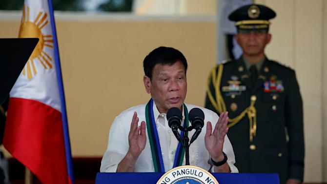 Philippines President Rodrigo Duterte speaks to soldiers at main military Camp Aguinaldo in Quezon city Metro Manila