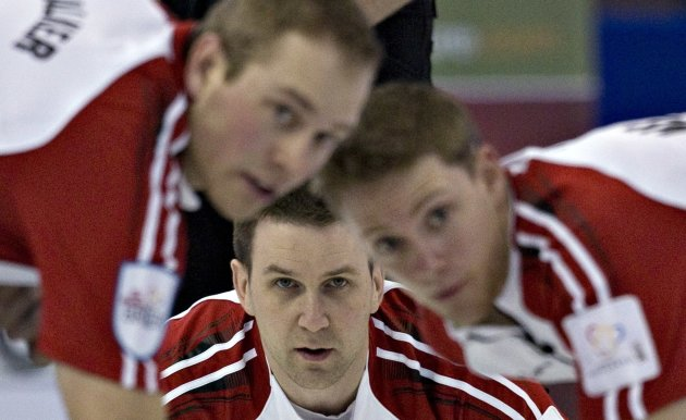 Newfoundland skip Gushue keeps his eye on the line during the Canadian Men's Curling Championships in Edmonton