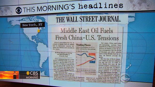 Headlines: China will overtake the U.S. as the world's No. 1 buyer of Middle East oil