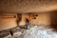 File photo taken in 2007 shows the interior of one of the tombs at the archaeological site of Madain Saleh in Saudi Arabia. A team of French archaeologists in partnership with their Saudi colleagues are now carrying out excavations on the site in an effort to preserve and better understand its ancient history