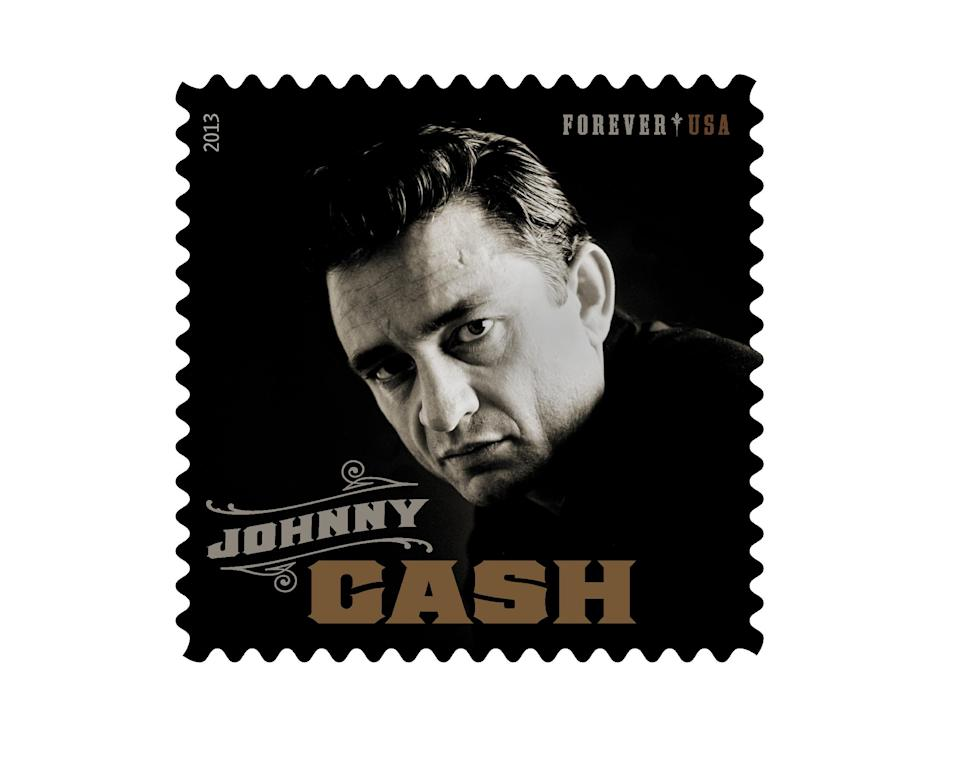 This product image released by the Unites States Postal Serice shows the Johnny Cash Forever stamp. The stamp, honoring the late country music singer, will be available on Wednesday, June 5. (AP Photo/USPS)
