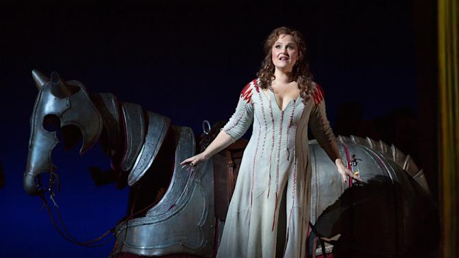 """In this April 17, 2013 photo provided by the Metropolitan Opera, Katarina Dalayman sings the role of Brunnhilde in Wagner's """"Gotterdammerung,"""" during a dress rehearsal at the Metropolitan Opera in New York. (AP Photo/Metropolitan Opera, Marty Sohl)"""