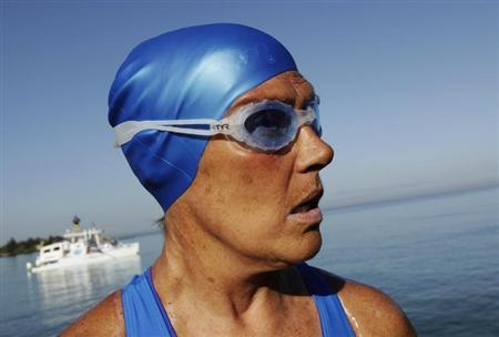 U.S. long-distance swimmer Diana Nyad is pictured before attempting to swim to Florida from Havana