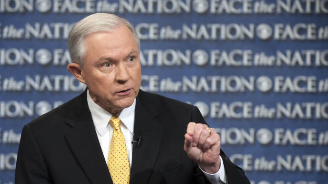 """In this Sunday, June 23, 2013, photo provided by CBS News Senate Judiciary Committee member, Sen. Jeff Sessions, R-Ala., an outspoken critic of the currently proposed immigration reform bill, speaks on CBS's """"Face that Nation"""" in Washington. The Senate reconvenes tomorrow to consider the Comprehensive Immigration Reform bill. (AP Photo/CBS News, Chris Usher)"""