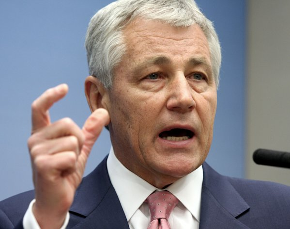 FILE - In this June 26, 2008 file photo, then Sen. Chuck Hagel, R-Neb., speaks on foreign policy at the Brookings Institution in Washington. President Barack Obama may round out his new national security leadership team next week, with a nomination for defense secretary expected and a pick to lead the CIA possible. Hagel is the front-runner for the top Pentagon post. (AP Photo/Lauren Victoria Burke, File)
