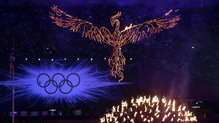 The cauldron burns during the Closing Ceremony at the 2012 Summer Olympics, Sunday, Aug. 12, 2012, in London. (AP Photo/Patrick Semansky)