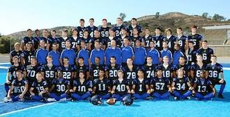 The West Hills team photo showcases the field's different shades of blue — West Hills football