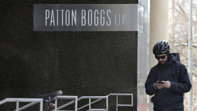 General view of the front entrance for Patton Boggs LLC, in Washington