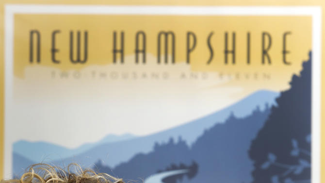 In this photo taken Tuesday, Dec. 16, 2014 New Hampshire's new director of travel and tourism, Victoria Cimino poses in her office in Concord, N.H. Happy to be back in New Hampshire, Cimino also wants to return to school, in a sense, by working with colleges and universities to attract more students. (AP Photo/Jim Cole)