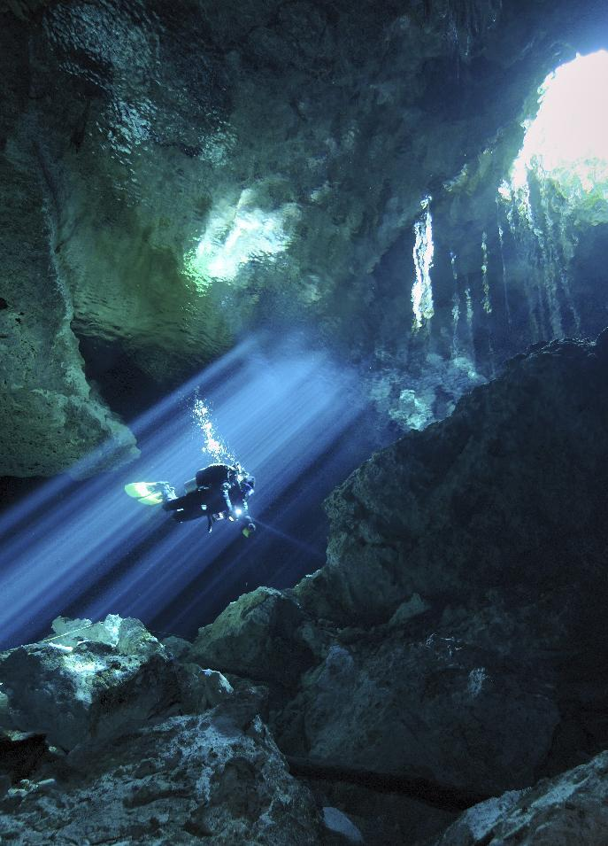 "This undated image released by Animal Planet shows an image from the new series, ""Underworld,"" where divers explore underwater caves around the world. Animal Planet is unveiling 11 new shows for the season ahead. (AP Photo/Animal Planet, Karen Doody)"