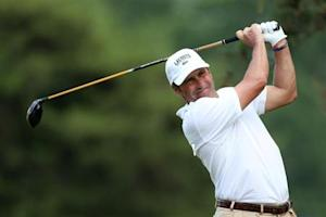 Spain's Jose Maria Olazabal tees off on the second hole during the first round of the 2013 U.S. Open golf championship at the Merion Golf Club in Ardmore