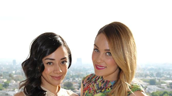 From left, Aimee Garcia and Lauren Conrad are seen at the The Hollywood Reporter's Beauty Luncheon held at the Chateau Marmont on Wednesday Nov. 14, 2012 in Los Angeles. (Photo by John Shearer/Invision for THR/AP Images)