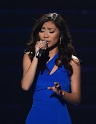 "Singer Jessica Sanchez performs onstage during the ""American Idol"" 2012 results show at the Nokia Theatre in Los Angeles on May 23. President Benigno Aquino led the heartbroken Philippines in heaping praise Thursday on Sanchez, who is of Filipino-Latino heritage, following her loss in the final of US talent show"