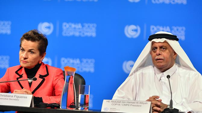 United Nations Convention on Climate Change Executive Secretary Christiana Figueres, left, speaks during a press conference along side Qatar's Deputy Prime Minister and president of the 18th United Nations Convention on Climate Change, Abdullah bin Hamad Al-Attiyah, in Doha, Qatar, Monday, Dec. 3, 2012. Highlighting a rift between the rich countries and emerging economies like China, New Zealand's climate minister staunchly defended his government's decision to drop out of the emissions pact for developed nations, saying it's an outdated and insufficient response to global warming. (AP Photo/Osama Faisal)