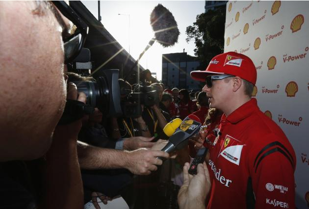 Ferrari Formula One driver Raikkonen speaks to members of media on red carpet at premiere of film 'Horse Power' in Melbourne