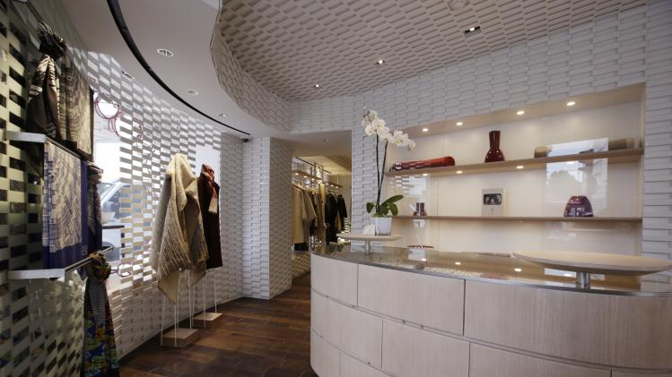 General view of the shop of the young brand Shang Xia on its opening day in Paris