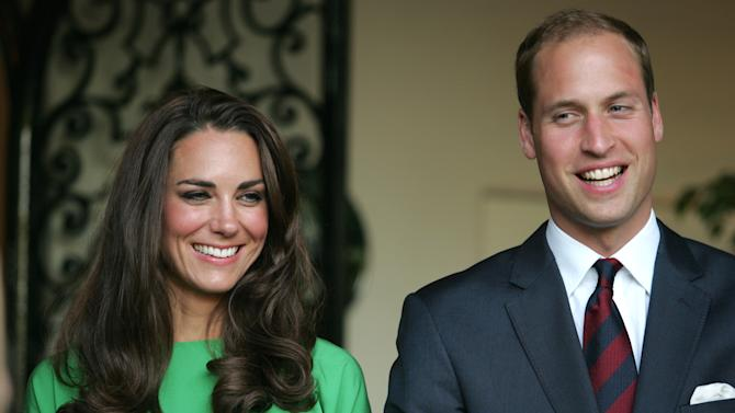 Prince William and Kate, the Duke and Duchess of Cambridge, look on during a private reception at the British Consul-General's residence in Los Angeles, Friday, July 8, 2011. (AP Photo/Matt Baron, Pool)