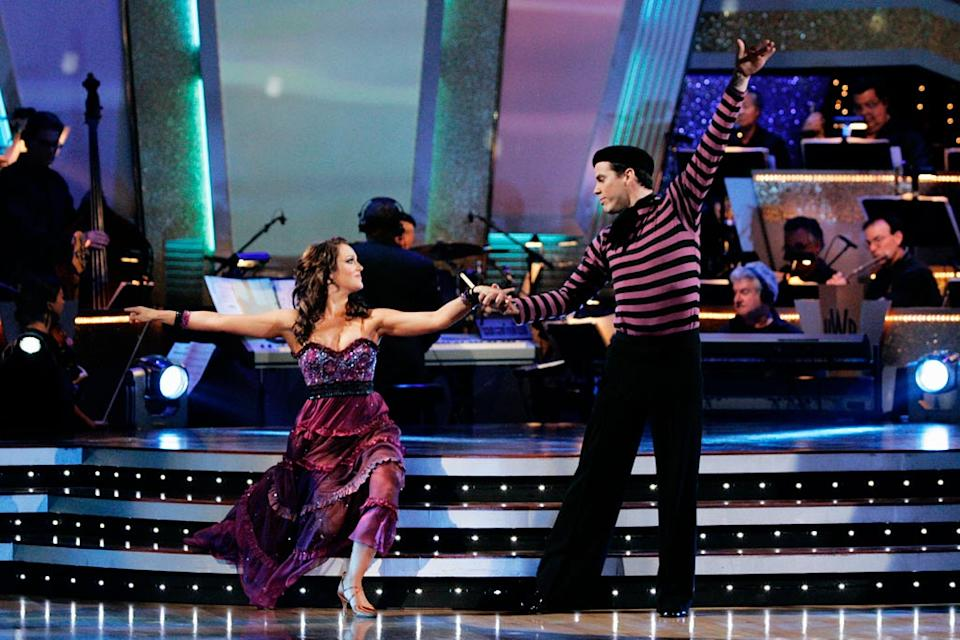 "Steve-O and Lacey Schwimmer perform the Viennese Waltz to ""Complainte de la Butte"" by Rufus Wainwright on ""Dancing with the Stars."""