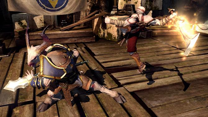 """This video game image released by Sony shows Spartan warrior Kratos battling a goat in """"God of War: Ascension."""" (AP Photo/Sony)"""