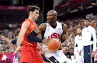 LONDON, ENGLAND - AUGUST 12:  Kobe Bryant #10 of the United States takes the ball up against Rudy Fernandez #5 of Spain during the Men&#39;s Basketball gold medal game between the United States and Spain on Day 16 of the London 2012 Olympics Games at North Greenwich Arena on August 12, 2012 in London, England.  (Photo by Harry How/Getty Images)