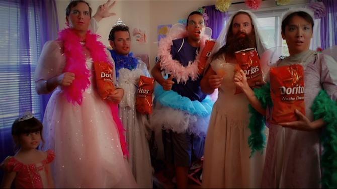 """This undated screenshot provided by PepsiCo shows the Super Bowl advertisement for PepsiCo's Frito-Lay's Doritos. PepsiCo's""""Crash the Super Bowl"""" ads are back for the seventh straight year. Two 30-second commercials made by consumers will make it on the air. Fans voted for one winner and Doritos chose the other.(AP Photo PepsiCo)"""