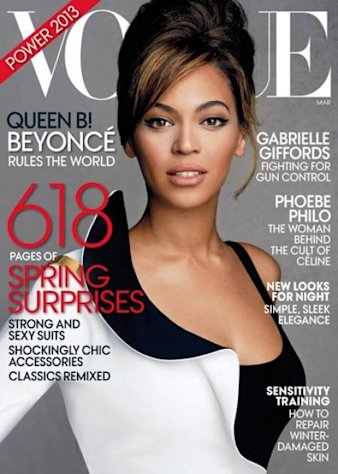 Beyonce on the cover of Vogue's March 2013 issue -- Vogue