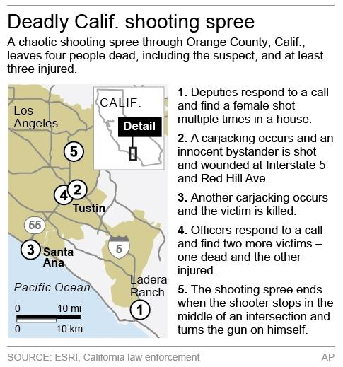 Map locates key areas in a Calif. shooting spree.