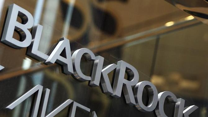 The BlackRock logo is seen outside of its offices in New York