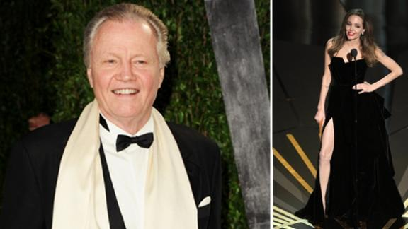Jon Voight at the Vanity Fair Oscar party (left), Angelina Jolie on stage at the Oscars (right), Hollywood, February 26, 2012 -- Getty Images