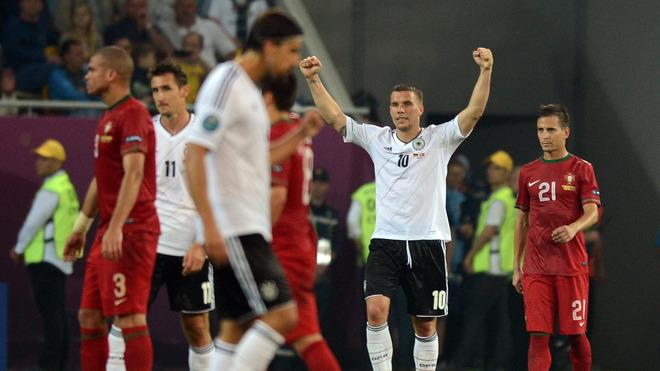 German Forward Lukas Podolski (2ndR) Celebrates AFP/Getty Images