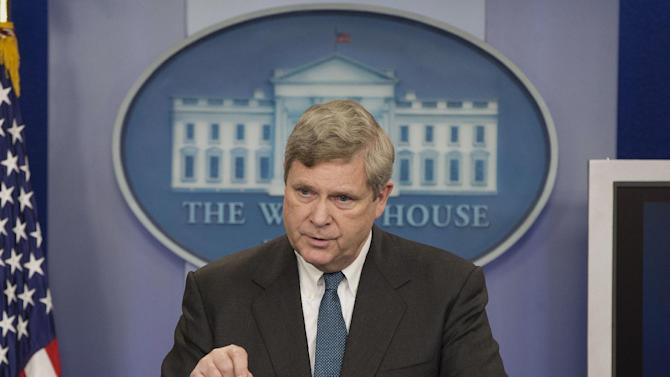 Agriculture Secretary Tom Vilsack announces new climate zones to help farmers deal with climate change, Wednesday, Feb. 5, 2014, during the daily news briefing at the White House in Washington. The government will assess the climate risk in each of these zones, such as forest fires, drought, floods and then help farmers deal with it. (AP Photo/Pablo Martinez Monsivais)