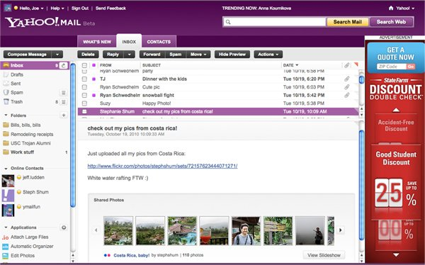 Yahoo! Mail with embedded photo links displayed in mail itself