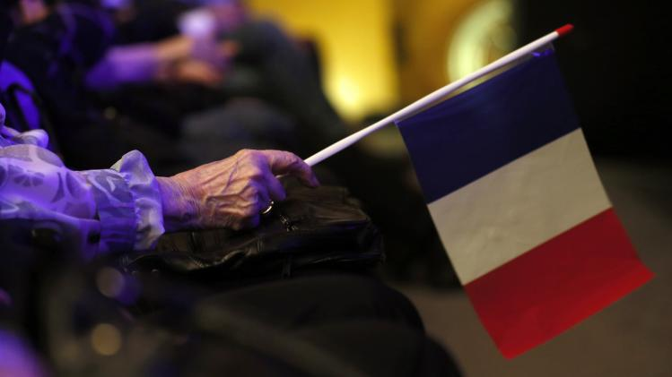 A far-right National Front political party supporter holds a French flag during a rally for local elections in Marseille