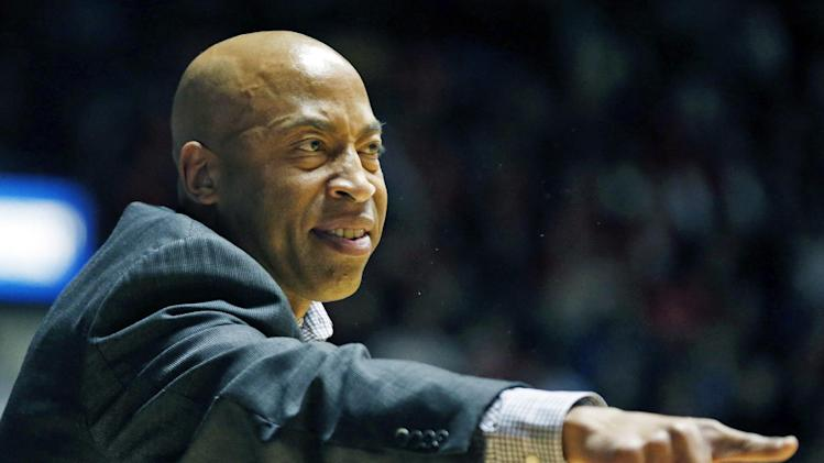 Mississippi State basketball coach Rick Ray calls out to his team in