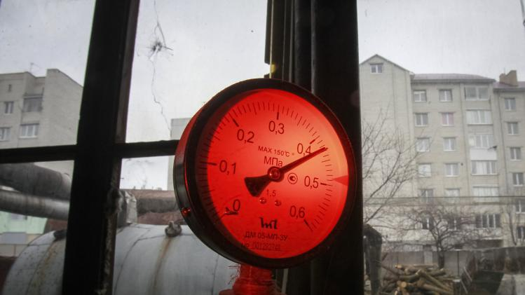 File photo of a pressure gauge in the city's boiler in the western Ukrainian town of Zolochiv