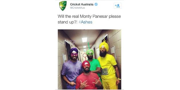 Cricket Australia apologise for Panesar gaffe on Twitter