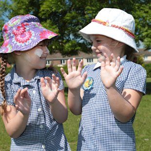 Children wear Sun lotion in Sun safe Schools Campaign