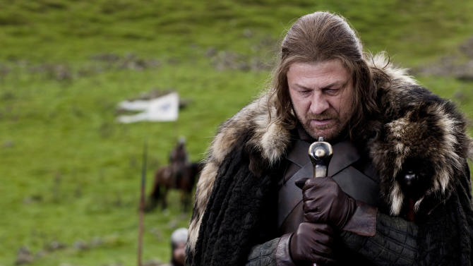 """In this publicity image released by HBO, Sean Bean portrays Eddard Stark in a scene from the HBO series, """"Game of Thrones."""" The 63rd Emmy Award nomination announcements will be made on Thursday, July 14, 2011. (AP Photo/HBO, Nick Briggs)"""