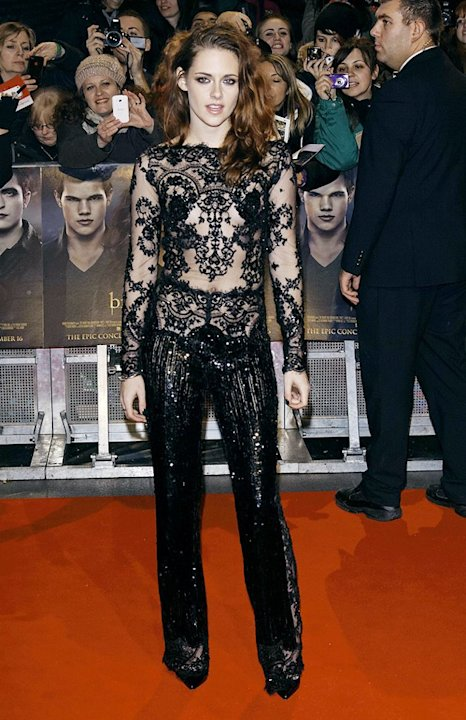 Two days later, Kristen was back in the spotlight (and back in Zuhair Murad!) at the European premiere of her soon-to-be blockbuster. Call us crazy, but we think this sequined jumpsuit is one of the c