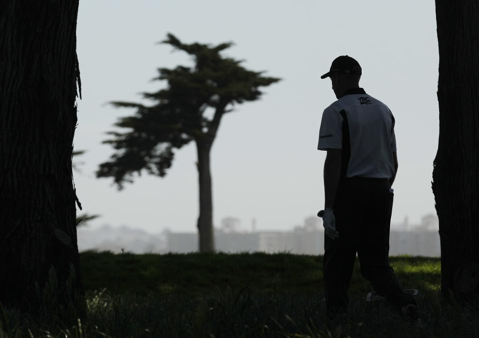 Jim Furyk walks to the second tee during the second round of the U.S. Open Championship golf tournament Friday, June 15, 2012, at The Olympic Club in San Francisco. (AP Photo/Charlie Riedel)