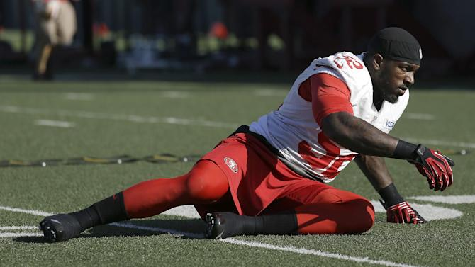 San Francisco 49ers linebacker Patrick Willis (52) stretches before practicing at an NFL football training facility in Santa Clara, Calif., Friday, Jan. 25, 2013. The 49ers are scheduled to play the Baltimore Ravens in the Super Bowl on Sunday, Feb. 3. (AP Photo/Jeff Chiu)