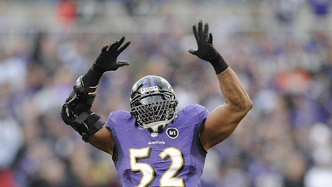 Baltimore Ravens inside linebacker Ray Lewis (52) dances near the end of the second half of an NFL wild card playoff football game against the Indianapolis Colts, Sunday, Jan. 6, 2013, in Baltimore. Baltimore won 24-9. (AP Photo/Nick Wass)